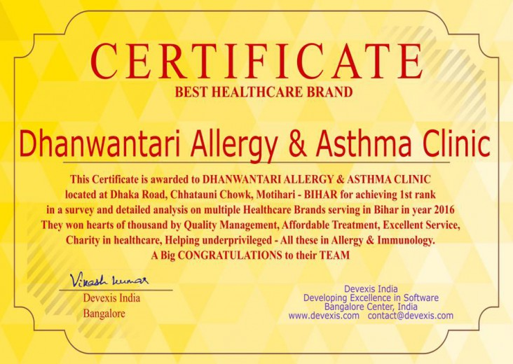 Allergy Asthma Clinic Certificate
